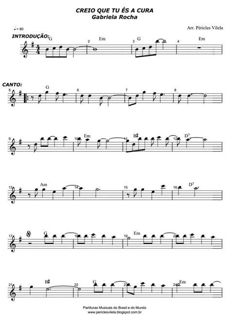 Partituras Musicais: Creio que tu és a cura - Gabriela
