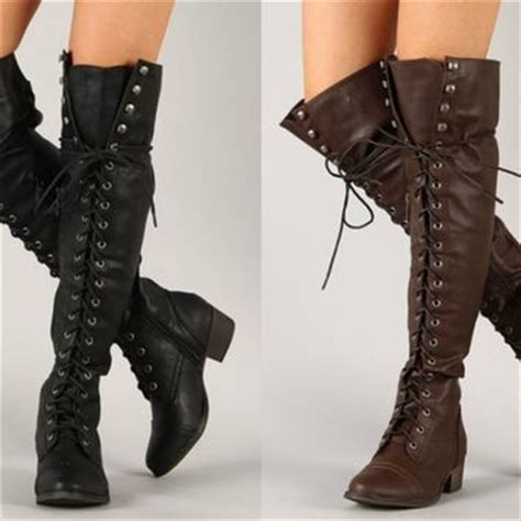 thigh high flat lace up boots boot 2017