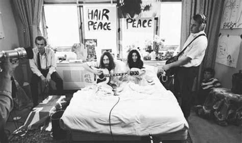 john lennon bed in john lennon 75 anniversary bed art installation with yoko ono by russell marshall