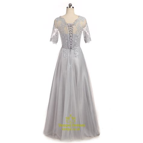 Tulle Sleeve Lace Dress gray floor length half sleeve tulle prom dresses with lace