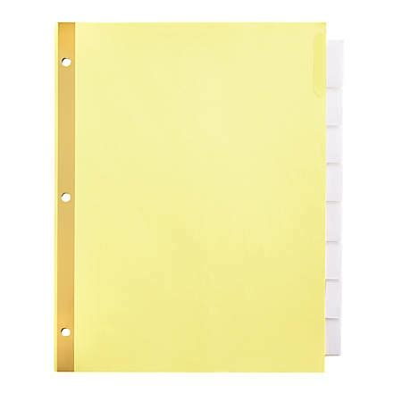 Office Depot Brand Insertable Tab Dividers Clear Tabs Buff Paper 8 Tabs Pack Of 3 By Office Office Depot Index Divider Templates