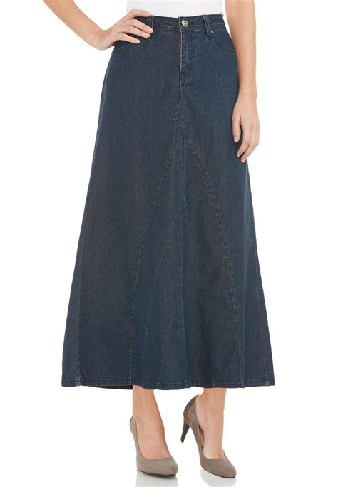 seamed v inset denim skirt plus denim cato fashions