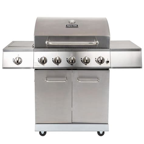 dyna glo 5 burner lp propane gas grill in stainless steel