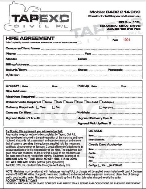 hire agreement template hire agreement tapexc civil