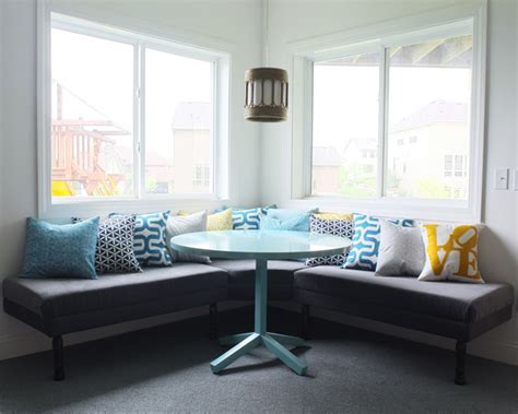 diy built in bench diy upholstered built in bench part 2 teal and lime by