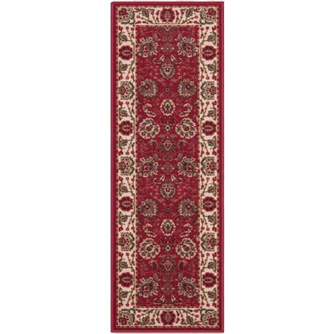 home design 7 x 10 ottomanson traditional floral design dark red 2 ft 7 in