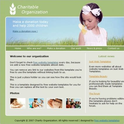 free templates for organization website charitable organization template free website templates in
