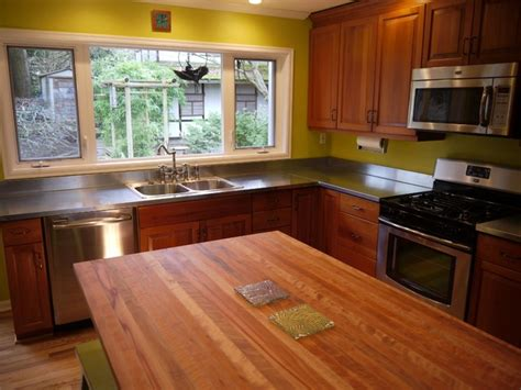 Kitchen with zink counter tops and madrone butcher block