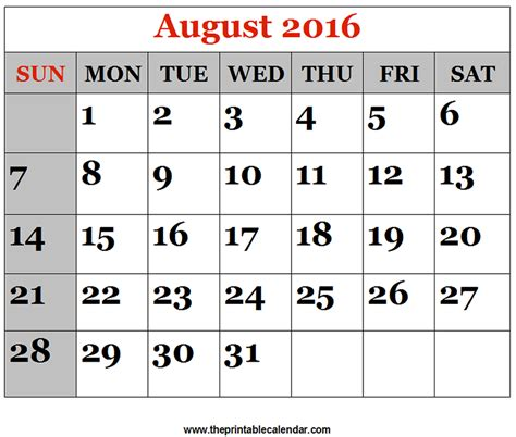 Calendar August 2016 August 2016 Printable Calendars
