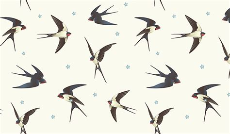 flying swallows wall mural patterned wallpapers custom made by wallpaper ink