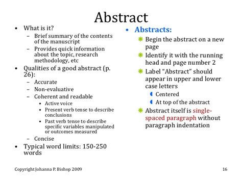 exles of abstract paragraph in apa format
