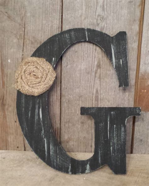 black rustic chic wooden letter g home decor letters burlap