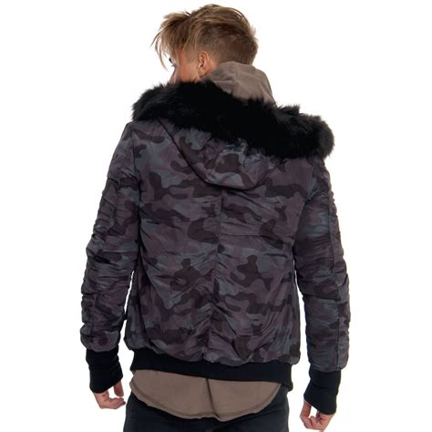 Hooded Camo Bomber Jacket sixth june camouflage faux fur hooded bomber jacket