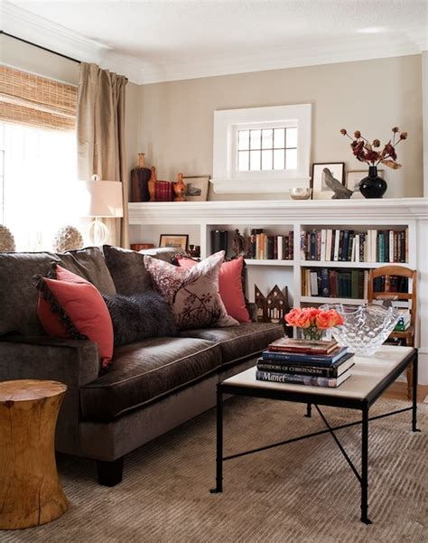 brown velvet sofa transitional living room