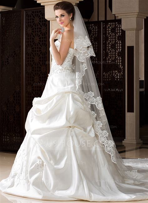 two tier chapel bridal veils with lace applique edge 006036670 wedding veils jjshouse