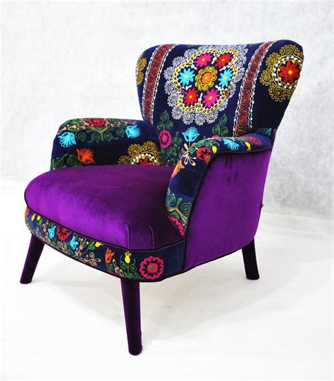patchwork armchair with suzani and purple velvet fabrics