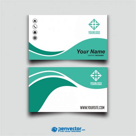 Green Tosca wave green tosca business card free vector