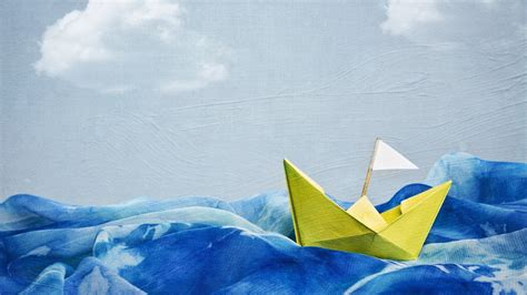 Paper Boat - artwork blue skies boats paintings paper boat wallpaper