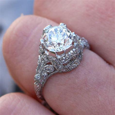Edwardian Engagement Rings by Edwardian Cert 1 87 Carat Platinum Engagement