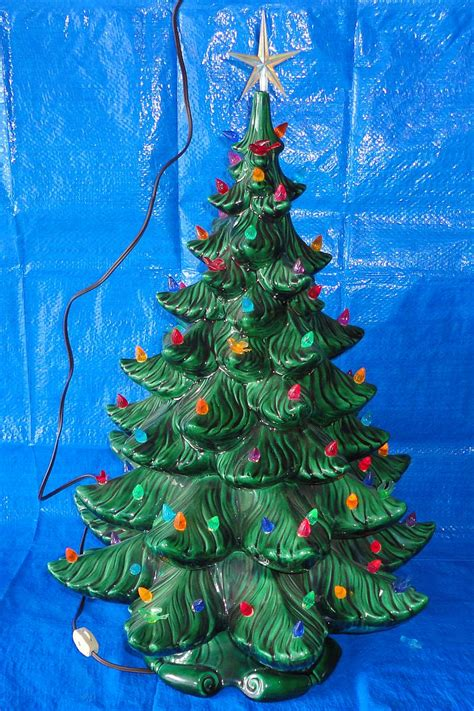 ceramic christmas tree base star topper light cord switch