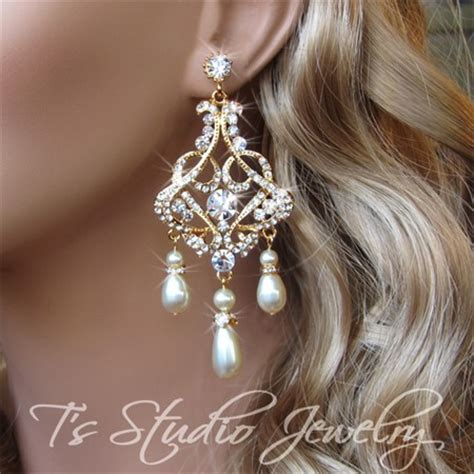 Gold Wedding Jewelry Pearl And Rhinestone Bridal Gold Bridal Earrings Chandelier