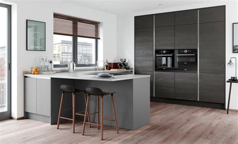 Grey Handleless Kitchen slab handleless doors zola matte dust grey uform