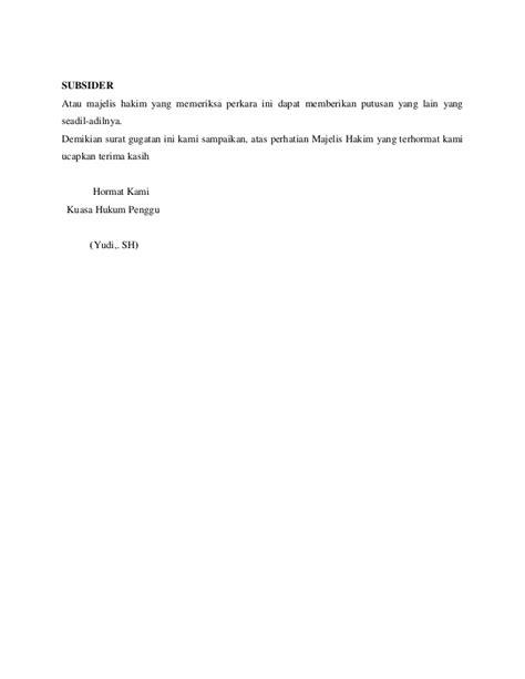 contoh surat gugatan wanprestasi wisata dan info sumbar