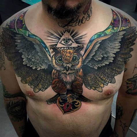 owl chest tattoos for men owl chest tattoos for www pixshark images