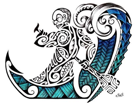 rowing tattoos designs maori design in colour of a polynesian tiki rowing