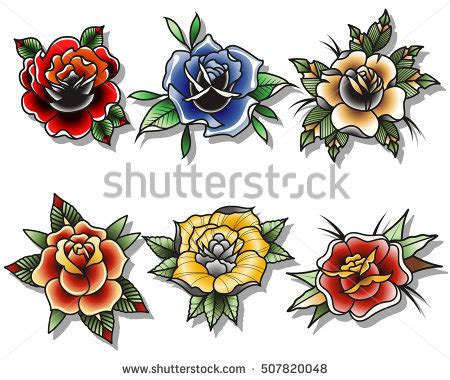 traditonal rose tattoo traditional flowers flash www pixshark