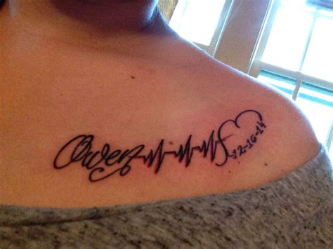 sons name tattoo my sons name owen with heartbeat and his date of birth