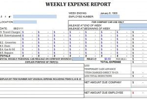 weekly expense report template weekly expense report