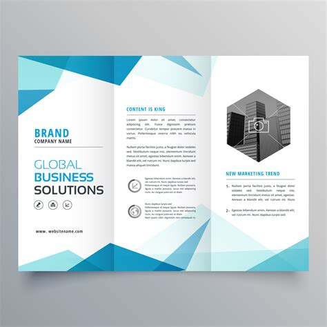 abstract blue business trifold brochure design template   vector art stock