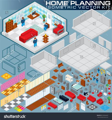 isometric home plan 3d vector creation stock vector