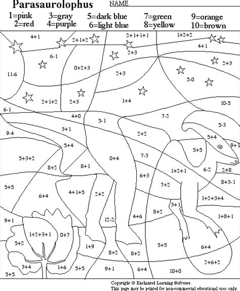 Parasaurolophus Math Activity Printout Enchantedlearning Com Coloring Pages For 1st Graders