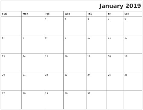 printable calendar january 2019 january 2019 printable calender