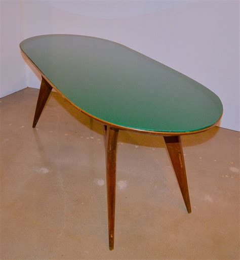 Green Glass Dining Table Mid Century Italian Table With Green Glass By Vittorio Dassi At 1stdibs