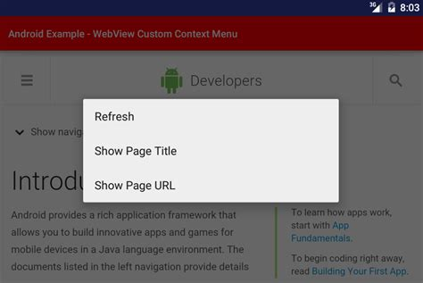 android context android custom context menu for webview