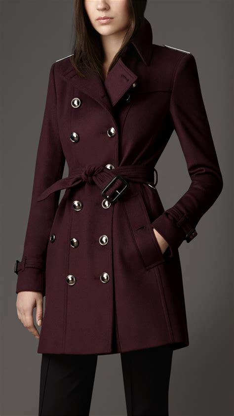 Slim Fit Wool Size 31 burberry midlength slim fit wool trench coat in purple lyst