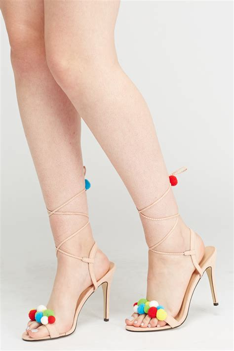 Heels Pome tie up pom pom heeled sandals beige just 163 5