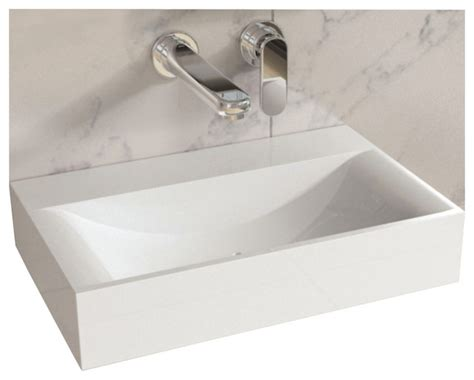 Modern Wall Hung Bathroom Sinks Adm White Solid Surface Resin Wall Hung Sink