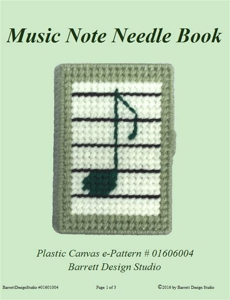 felt pattern book download music note needle book minder plastic canvas e pattern