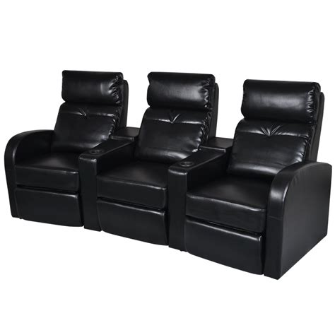 Black Recliner Sofa by Artificial Leather Home Cinema Recliner Reclining Sofa 3