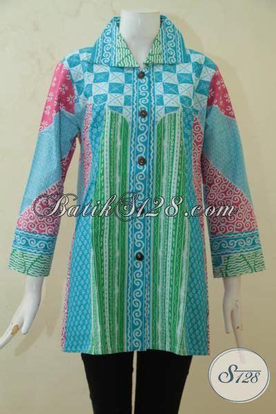 Baju Sepeda Rangcing Warna Warni baju batik halus warna warni keren blus batik lengan tujuh perdelapan proses printing batik