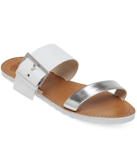 slide sandals lyst vince camuto motter flat slide sandals in metallic