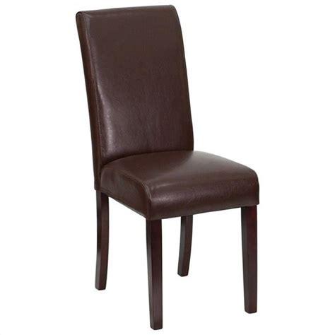 upholstered parsons dining chair  dark brown bt  brn lea  gg