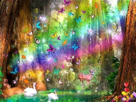 rainbow paradise rainbows nature background