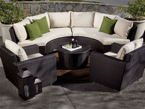 curved patio sectional sunset west solana wicker 5 piece curved sectional set
