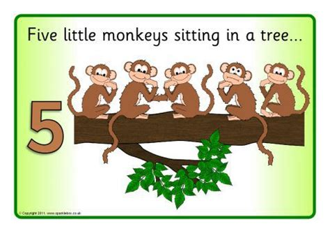 monkey swinging in the tree song five little monkeys visual aids sb832 sparklebox