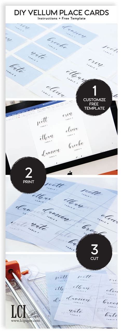 Wedding Place Cards Design Your Own by Infographic Your Own Vellum Place Cards As Easy As 1 2 3
